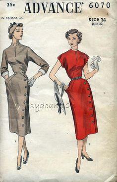 Advance 6070 Vintage 1952 Side Button Skirt Wiggle Dress Pattern