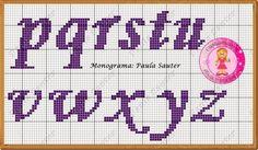 Ponto Cruz da Samsara: Monogramas e gráficos! Cross Stitch Designs, Cross Stitch Patterns, Lettering Styles, Square Blanket, Cross Stitch Alphabet, Monogram Letters, Needlepoint, Projects To Try, Names