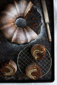 Zebra Bundt Cake - layers of vanilla and chocolate poundcake alternating to make the most beautiful zebra stripes pattern! #poundcake #zebracake #zebrabundtcake #bundtcake | Littlespicejar.com