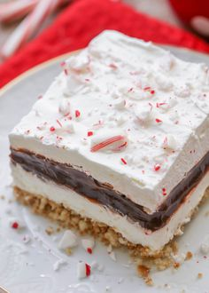 desserts Peppermint Chocolate Delight - Lil' Luna Peppermint Chocolate Delight - Nilla wafer crust, cream cheese layer, chocolate pudding layer, whipped cream and candy cane pieces. It's our new favorite Christmas dessert! Mini Desserts, Pudding Desserts, Holiday Desserts, Holiday Baking, Holiday Treats, Christmas Baking, Just Desserts, Italian Christmas, Pudding Icing