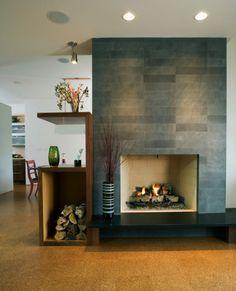 Contemporary fireplace surround ideas block cast concrete tiles ...