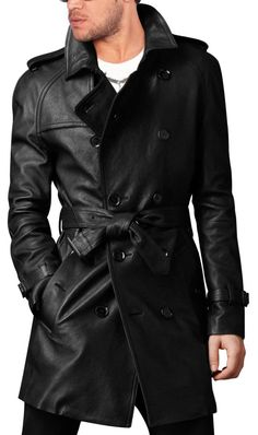 HANDMADE MEN LEATHER TRENCH COAT
