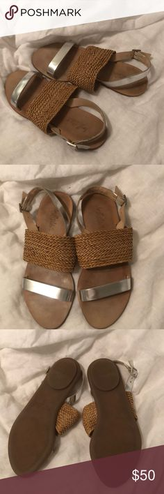 Loeffler Randal Sandals Reposhing because these are a little tight across my toes. EUC. Beautiful woven strap across the top of the foot with silver accents across toes and on heel strap. Rubber sole. Incredibly good condition. Perfect with spring/summer skirts and dresses. 😍 Loeffler Randall Shoes Sandals