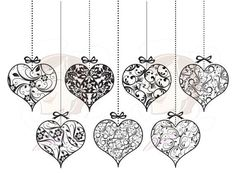 Heart Hanging Ornaments Clip Art Wedding Floral Swirl Leaf Frame Graphics Old Time Scrapbooking Valentine DIY Bridal Decor png files 10244: