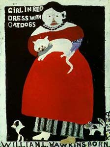 WILLIAM HAWKINS (1895-1990) | GIRL IN RED DRESS WITH CATDOGS | 1985 |