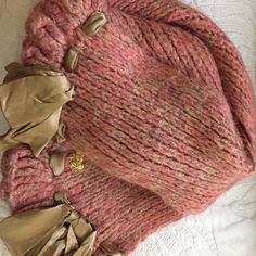 Betsey Johnson winter scarf Peach colors with gold - long scarf with ribbon accent on ends. Super cute! Betsey Johnson Accessories Scarves & Wraps
