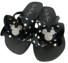 f4924e78ddfc Vacation Disney Flip Flops with Bling! Many Colors. Black Polka and Glitter Mickey  Mouse Bows. All sizes. Ladies Girls. Disney Cruise