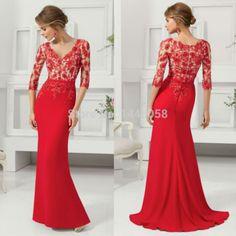 Nuevo diseño 2015 ocasión especial con cuentas de encaje rojo de noche largo vestido sirena vestido de fiesta de noche elegante vestidos con mangas