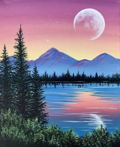 "Crafts Painting Paint Nite painting ""Peaceful Pine Lake"" by artist Carmen Maciboric from White City, Saskatchewan, Canada Lake Painting, Art Painting, Landscape Paintings Acrylic, Aesthetic Painting, Art Painting Acrylic, Painting Art Projects, Nature Paintings, Canvas Painting, Cute Canvas Paintings"
