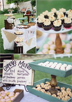 vintage dessert table - sign made from a book!