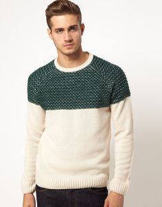 This jumper is by ASOS. It comes in a regular fit. The details include: ribbed crew neck, reverse fairisle pattern across chest, plain body, ribbed hem and cuffs and raglan sleeves.