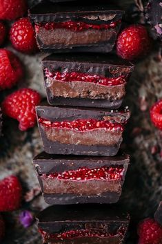 Double Chocolate Cashew Butter Cups with Raspberry Chia Jam - Crowded Kitchen Dark chocolate cups filled with homemade chocolate cashew butter and homemade raspberry chia jam.this is one of our most popular recipes for a good reason! Köstliche Desserts, Delicious Desserts, Dessert Recipes, Yummy Food, Tasty, Raspberry Desserts, Cake Recipes, Chocolate Cups, Chocolate Recipes