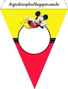 Mickey in Yellow and Red Free Printable Party Kit.   Is it for PARTIES? Is it FREE? Is it CUTE? Has QUALITY? It´s HERE! Oh My Fiesta! in english