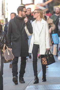 Celebrity Street Style: The 10 Most Stylish Stars - Kate Bosworth Girl Fashion Style, Fashion Couple, Fashion Top, Street Fashion, Kate Bosworth Style, White Winter Coat, Stylish Couple, Her Style, Autumn Winter Fashion