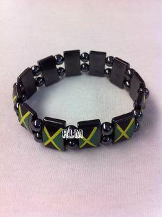 Reggae Land Muzik Store - Jamaica Flag - Hematite Magnetic Bracelet   Black a75161c26a0d