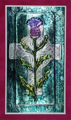 Celtic cross and thistle