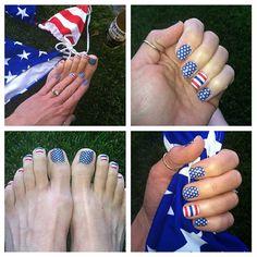 of July nails with Jamberry Nails! Nail Designs Spring, Cool Nail Designs, Dark Nails, White Nails, Us Nails, Love Nails, Patriotic Nails, 4th Of July Nails, July 4th