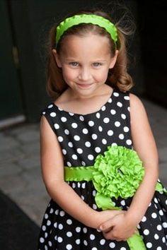 Polka Dot Flower Girl Dress Tea Length except i want emerald green with navy blue sash