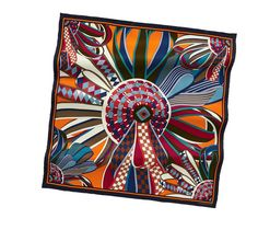"""Les Flots du Cheval    Vintage silk twill scarf, hand rolled, 28"""" x 28""""    Ref. 982683S05  $325.00"""