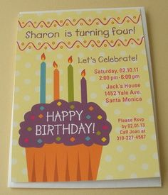 This playful personalized birthday invitation with a big colorful cupcake and candles is perfect for any girl's birthday party.