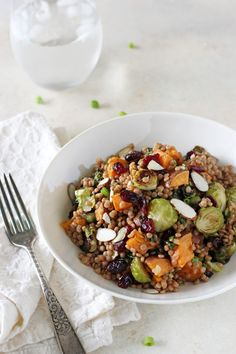 Brussels Sprout and Sweet Potato Israeli Couscous Salad (via Oh My Veggies)