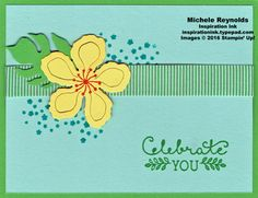 "Handmade card using Stampin' Up! products - Botanical Blooms Photopolymer Stamp Set, Suite Sayings Stamp Set, Botanical Builder Framelits, and 5/8"" Mini Striped Ribbon.  By Michele Reynolds."