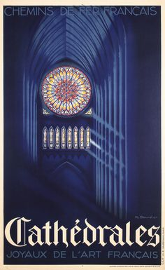 Striking 1930s French Rail Cathedral Travel Poster