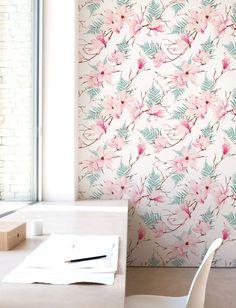 Magnolia Wallpaper Removable Wallpaper Self-adhesive by Jumanjii
