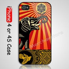 Obey Elephant Bird Custom iPhone 4 or 4S Case Cover