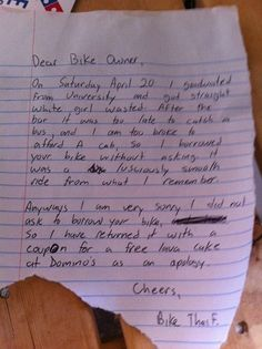 Best Bike Thief EVER. There's seriously no way you could be mad at this guy.