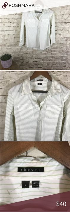 Theory white stripes button down shirt In great condition . Amazing button up shirt with stand collard and chest pocket perfect for a day in the office or casual mix with bootcut jeans and crossbody bag for a brunch with ladies. V neck. Light green stripes to finish it perfection. Great quality! Size L Theory Tops Button Down Shirts