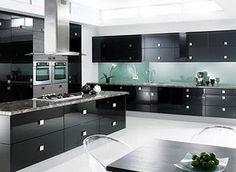modern house: modern elegant black kitchen designs ideas