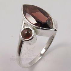 Garnet Rings, Garnet Gemstone, Gemstone Rings, Silver Jewellery Indian, Delicate Rings, Smoky Quartz, Natural Gemstones, Sterling Silver Jewelry, Jewels