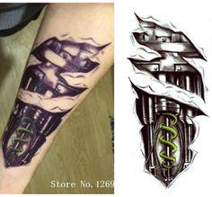21 x 15 cm 3D Machine Robot Arm Men Tattoo Temporary Tattoo Stickers Men Decoration Body Cool Decoration