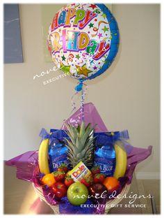 Las Vegas Fruit Gift Basket w/Happy Birthday Mylar Balloon. #Fruit #GiftBaskets #LasVegas