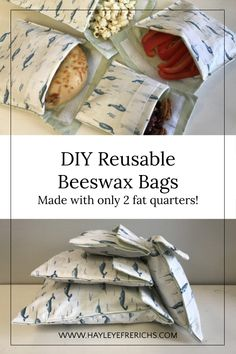 DIY Reusable Beeswax Bags made with only 2 fat quarters sewing projects simple c. DIY Reusable Beeswax Bags made with only 2 fat quarters sewing projects simple crafts zero waste cr Diy Sewing Projects, Sewing Projects For Beginners, Sewing Crafts, Simple Projects, Upcycling Projects, Fat Quarters, Diy Couture, Creation Couture, Recycled Crafts