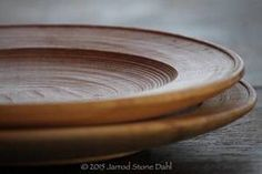 pole lathe turned wooden plates with great texture