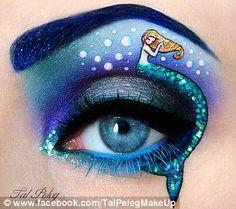 Tal Peleg, Israeli make-up artist, paints intricate designs onto her eyelid #beautiful #makeupart #littlemermaid