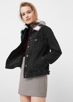 Faux-fur denim jacket