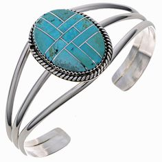 Inlaid Turquoise Bracelet Handmade Sterling Ladies Cuff