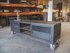 Modern Industrial Media Cabinet/Console Cart