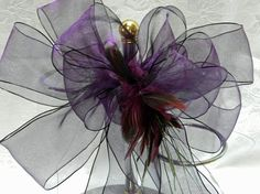 Deep Purple Wedding/ Pew Bows  with feather by creativelycarole, $85.00