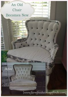 How I Reupholstered a Chair for the First Time - Farm Fresh Vintage Finds