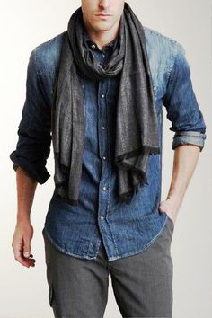 Jacquard Effect Wool Silk Blend Knit Scarf by John Varvatos Collection on styled with denim shirt and gray pants Mens Scarf Fashion, Men Scarf, Casual Outfits, Men Casual, Fashion Outfits, Look Man, John Varvatos, Well Dressed Men, Business Outfits