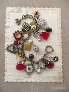 Heirloom Hearts Charm Bracelet - recycled vintage materials