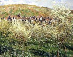 Plum Trees in Bloom-Claude Monet