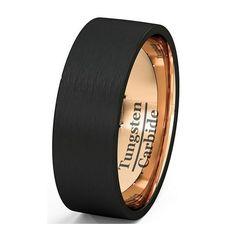Czarny Mężczyzna Pierścień Rose Pozłacane Wedding Band Pierścień Z Węglika Wolframu 8mm człowiek Kobiety Rocznica Biżuteria Rozmiar 7 8 9 10 11 12 13