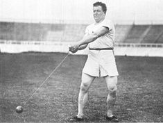 HAMMER-THROW: John Flanagan, 3 time winner of the hammer-throw event in the Olympics. Gold Medals: 1900, 1904 and 1908.