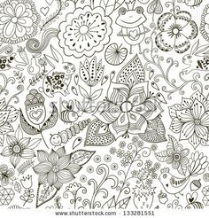 Romantic doodle floral texture. Copy that square to the side and you'll get seamlessly tiling pattern which gives the resulting image the ab...