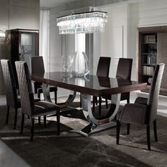 Large Modern Italian Veneered Extendable Dining Table Set at Juliettes Interiors. Round Dining Table Sets, Luxury Dining Tables, Modern Dining Room Tables, Elegant Dining Room, Luxury Dining Room, Dining Table Design, Dining Table Chairs, Glass Dining Table Set, Walnut Dining Table